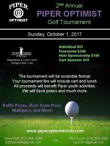 2 nd Annual PIPER OPTIMIST Golf Tournament Sunday