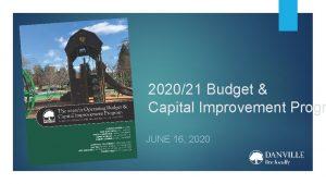202021 Budget Capital Improvement Progr JUNE 16 2020