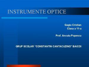 INSTRUMENTE OPTICE Gagiu Cristian Clasa a 11 a