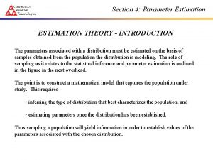 Section 4 Parameter Estimation ESTIMATION THEORY INTRODUCTION The