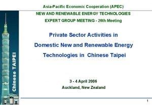 AsiaPacific Economic Cooperation APEC NEW AND RENEWABLE ENERGY