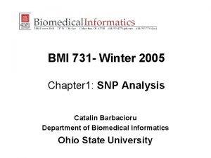 BMI 731 Winter 2005 Chapter 1 SNP Analysis