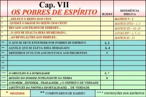 Cap VII OS POBRES DE ESPRITO SLIDES REFERNCIA