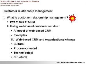 Customer relationship management I What is customer relationship