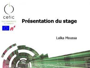 Prsentation du stage Laka Moussa Plan Prsentation du