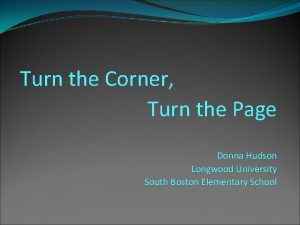 Turn the Corner Turn the Page Donna Hudson