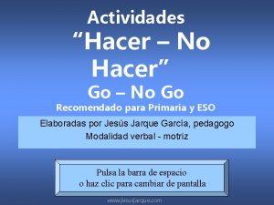 Actividades Hacer No Hacer Go No Go Recomendado