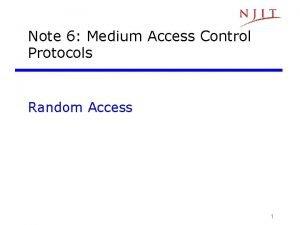 Note 6 Medium Access Control Protocols Random Access
