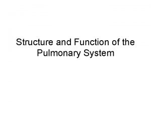 Structure and Function of the Pulmonary System Pulmonary