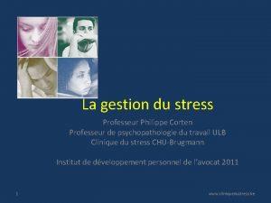 La gestion du stress Professeur Philippe Corten Professeur