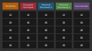 Vocabulary Persuasive Techniques Historical Documents 1 Historical Documents
