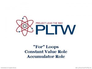 For Loops Constant Value Role Accumulator Role Introduction