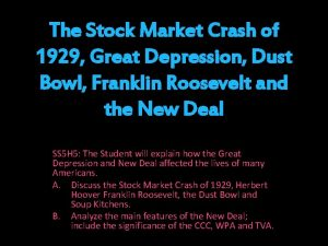 The Stock Market Crash of 1929 Great Depression