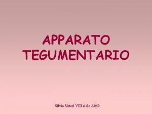 APPARATO TEGUMENTARIO Silvia Sirtori VIII ciclo A 060