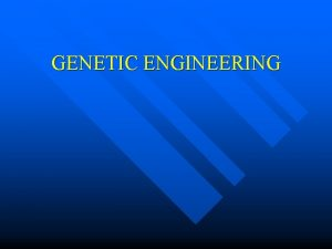 GENETIC ENGINEERING INTRODUCTION n For thousands of years