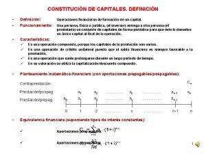 CONSTITUCIN DE CAPITALES DEFINICIN Definicin Funcionamiento Caractersticas Operaciones
