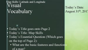 Map Skills Latitude and Longitude Visual Vocabulary Todays
