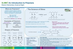 SLIME An Introduction to Polymers Sharon Elementary Science