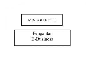 MINGGU KE 3 Pengantar EBusiness Pendahuluan EBusiness Ebusiness