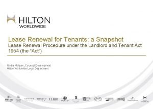 Lease Renewal for Tenants a Snapshot Lease Renewal