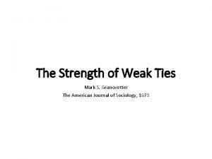 The Strength of Weak Ties Mark S Granovetter