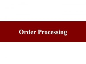 Order Processing Order vs Replenishment Cycles Order Cycle