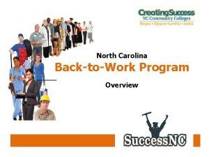 North Carolina BacktoWork Program Overview North Carolina BacktoWork