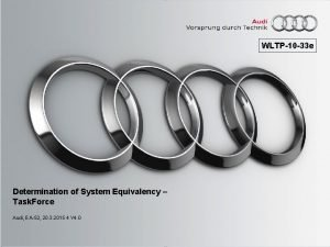 WLTP10 33 e Determination of System Equivalency Task