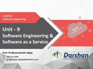 2160701 Software Engineering Unit 9 Software Engineering Software