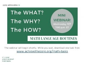 The webinar will begin shortly While you wait