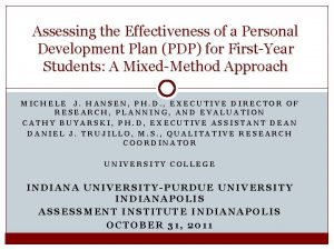 Assessing the Effectiveness of a Personal Development Plan