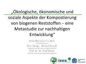 kologische konomische und soziale Aspekte der Kompostierung von