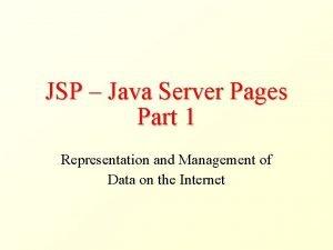 JSP Java Server Pages Part 1 Representation and