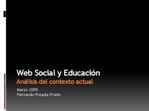 Web Social y Educacin Anlisis del contexto actual