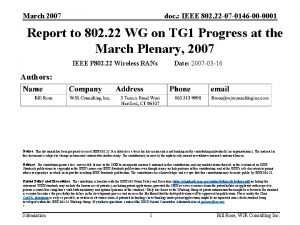 March 2007 doc IEEE 802 22 07 0146