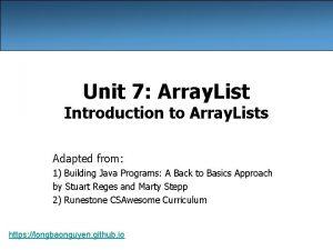 Unit 7 Array List Introduction to Array Lists