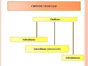 CHINONE VEGETALE Clasificare Naftochinone Antrachinone antracenozide Naftodiantrone NAFTOCHINONE