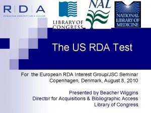 The US RDA Test For the European RDA