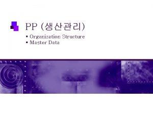 PP Organization Structure Master Data Organization Structure Master
