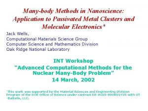 Manybody Methods in Nanoscience Application to Passivated Metal