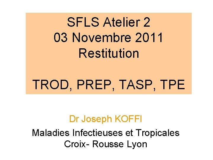 SFLS Atelier 2 03 Novembre 2011 Restitution TROD