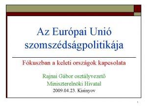 Az Eurpai Uni szomszdsgpolitikja Fkuszban a keleti orszgok
