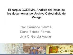 El corpus CODEMA Anlisis del lxico de los