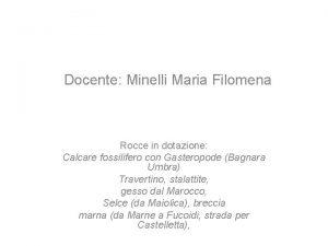 Docente Minelli Maria Filomena Rocce in dotazione Calcare