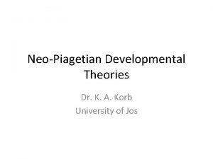 NeoPiagetian Developmental Theories Dr K A Korb University