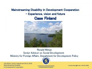 Mainstreaming Disability in Development Cooperation Experience vision and