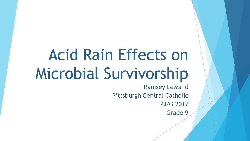Acid Rain Effects on Microbial Survivorship Ramsey Lewand