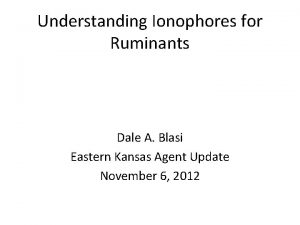 Understanding Ionophores for Ruminants Dale A Blasi Eastern