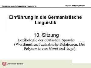 Einfhrung in die Germanistische Linguistik 10 Prof Dr