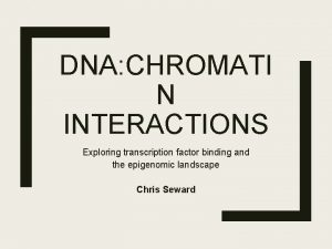DNA CHROMATI N INTERACTIONS Exploring transcription factor binding